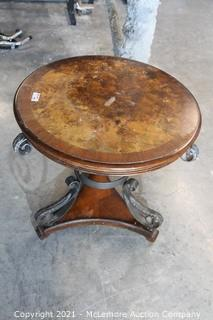 """Walnut Burl Inlaid Wood and Wrought Metal Table.   28"""" x 28"""""""