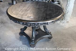 """Carved Wood Round Table - Painted and Distressed  48"""" Round x 38"""" H"""