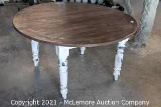 """Rustic Painted Round Farm Table with Leaf - 54"""" Round x30""""H"""