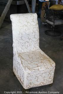 Slipcovered Upholstered Dining Chairs.  Presentable Both with and without Slipcovers