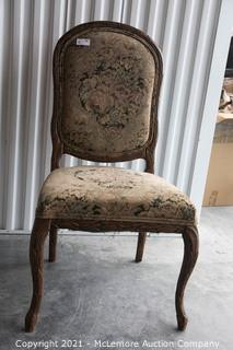Upholstered Reproduction Floral Print and Carved Wood Chair