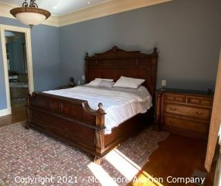 Walnut King Bed with Mattress and Box Springs.  Lots of Carvings and Extremely Well Made Bed