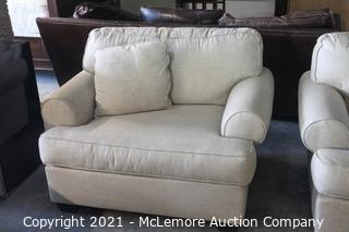 Ethan Allen Oversized Upholstered Cream Chair with Matching Pillow