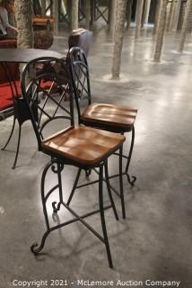 Pair of Metal and Wood Bar Height Swivel Chairs with Tile Inlays