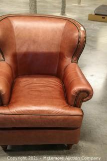 Brown Top Grain Leather Nailhead Chair