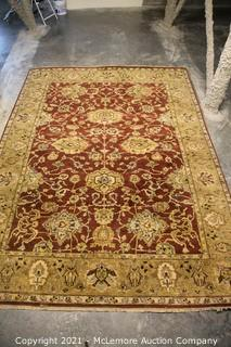 Red and Tan Afghan Rug with Flowers 109 x 141