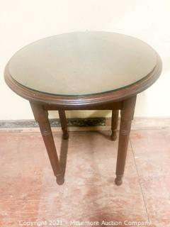 Lamp Table With Glass Top