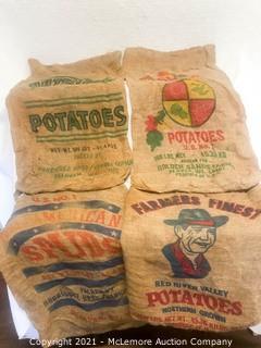 4 Potato Hemp BurlapSacks With Unique Graphics