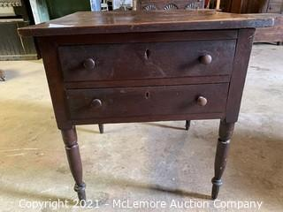 """Antique Two Drawer Table 26""""x28"""""""