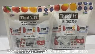 2-Pack That's It Mini Fruit Bars (Strawberry, Mango, Blueberry) - OPEN BAGS