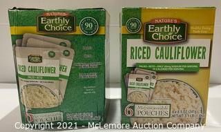 2-Pack Nature's Earthly Choice Riced Cauliflower Pouches w/ 6 pouches in each - OPEN BOX