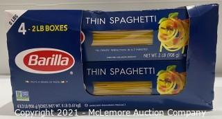 8lbs ( 4 2lb boxes) -  Barilla Thin Spaghetti - NEW