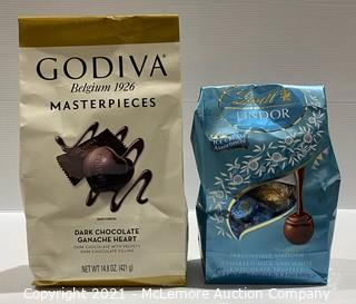 2.5 lbs of LINDOR! 2-Pack Chocolate Godiva Masterpieces Dark Chocolate Ganache Heart + Lindt Lindor Ice Cream Assortment - OPEN BAGS