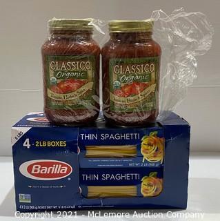 2-Pack Spaghetti Dinner 8lb Barilla Thin Spaghetti + 2-Count ( 32oz each) Classico Organic Tomato, Herbs, & Spices Pasta Sauce - NEW