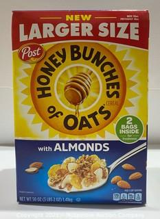 50oz - Family Size Post Honey Bunches of Oats Cereal w/ Almonds - NEW (retail packaging shows wear)