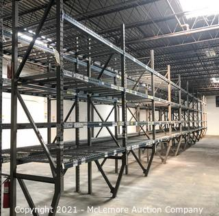 10 Sections of Pallet Racking with 4 Shelves with Cross Supports and Wire Shelving