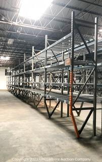 9 Sections of Pallet Racking with 4 Shelves with Cross Supports and Wire Shelving