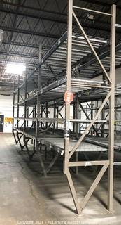 4 Sections of Pallet Racking with 4 Shelves with Cross Supports and Wire Shelving