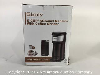 Sboly Grinder Coffee Brewer Maker Grinder Single Serve Home Cafe Office Black