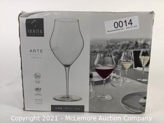 Roll over image to zoom in    Bormioli Rocco Inalto Arte Wine Glass, 13.25 oz., Set of 6, Small, Clear