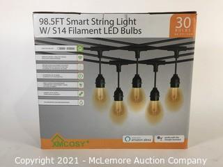 Outdoor String Lights – Patio Lights 98 Ft LED, Smart Warm White String Lights by 2.4G Wi-Fi App & Alexa, 30 Bulbs Dimmable Patio String Lights Outdoor, Waterproof & Shockproof LED String Lights