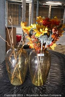 Pair of Large Speckled Brown Glass Vases with Fake Plants  18h x 11w