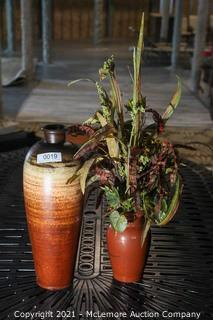 Two Pottery Vases - 1 with Artificiial Plants