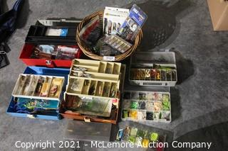 Large Lot of Fishing Tackle, Tackle Boxes and Wicker Basket