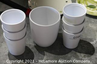 6 White German Stoneware Tumblers with Stoneware Pitcher