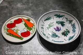 Hand Painted Plate and Bowl