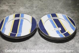 """9x Golden Rabbit Enamelware 11"""" Diinner Plates"""