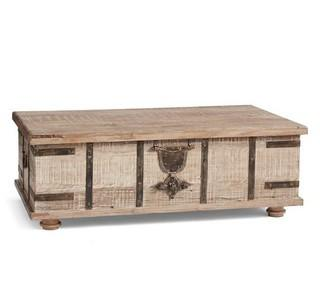 "Kaplan Reclaimed Wood Lift-Top Trunk Coffee Table, Dusty Safari, 52"""