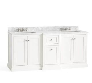Ultimate Double Sink Storage White Vanity - Does NOT include Top, but includes two sinks.