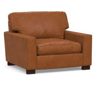 """Turner Square Arm Leather Grand Armchair 43"""", Down Blend Wrapped Cushions, Nubuck Loden Green"""