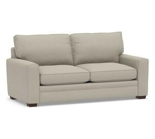 Pearce Square Arm Upholstered Sleeper Sofa with Memory Foam Mattress, Polyester Wrapped Cushions, Chenille Basketweave Pebble