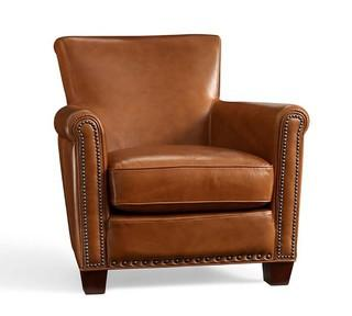 Irving Leather Armchair, Bronze Nailheads, Polyester Wrapped Cushions, Stetson Chestnut