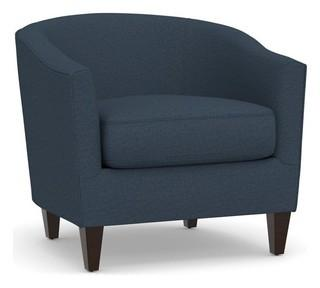 Harlow Upholstered Armchair, Polyester Wrapped Cushions, Brushed Crossweave Navy