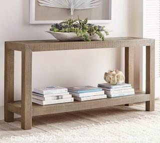 Hadley Herringbone Reclaimed Wood Console Table, Manza Gray