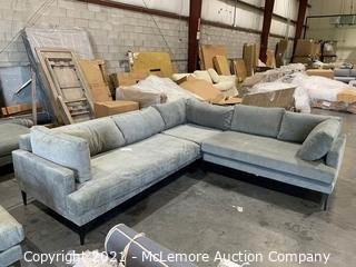 Andes Left Arm 2.5 Seater Sofa and 1 seater corner, Poly, Distressed Velvet, Mineral Gray, Black Legs