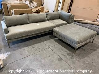 Andes Left Arm 2.5 Seater Sofa and 1 seater corner, Plus Ottoman Poly, Distressed Velvet, Mineral Gray, dark pewter