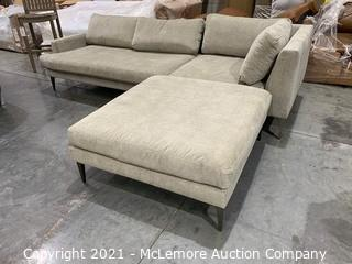 Andes Left Arm 2.5 Seater and 1 seater corner plus ottoman, Distressed Velvet, Light Taupe, Dark Pewter