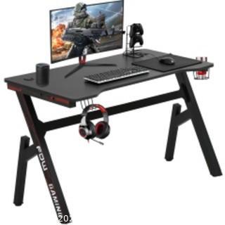 Gaming Computer Desk Home Office Desk Extra Large Modern Ergonomic Black PC Carbon Fiber Writing Desk Table with Cup Holder Headphone Hook, RED