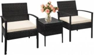 FDW Outdoor Wicker Patio Furniture Sets 3 Pieces Patio Set Bistro Set Rattan Chair Conversation Sets with Table Garden Porch Furniture Sets for Yard