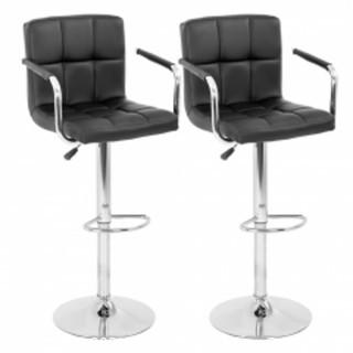 2 Black Stools with Silver Stands
