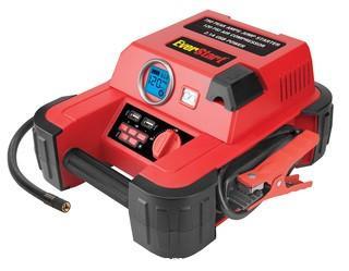 EVERSTART 750 Amp Jump Starter w/120 PSI Digital Compressor, Heavy Duty Clamps w/Reverse Polarity Alarm