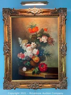 Framed Oil Still-life of Flowers by P. Gallinard