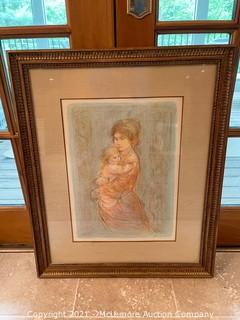 Framed Drawing Print of Mother and Child by Edna Hibel
