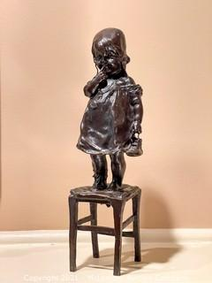 Bronze Sculpture of Girl on Stool by Juan Clara