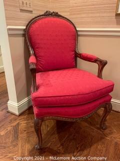 Fine Upholstered Chair with Floral Carving