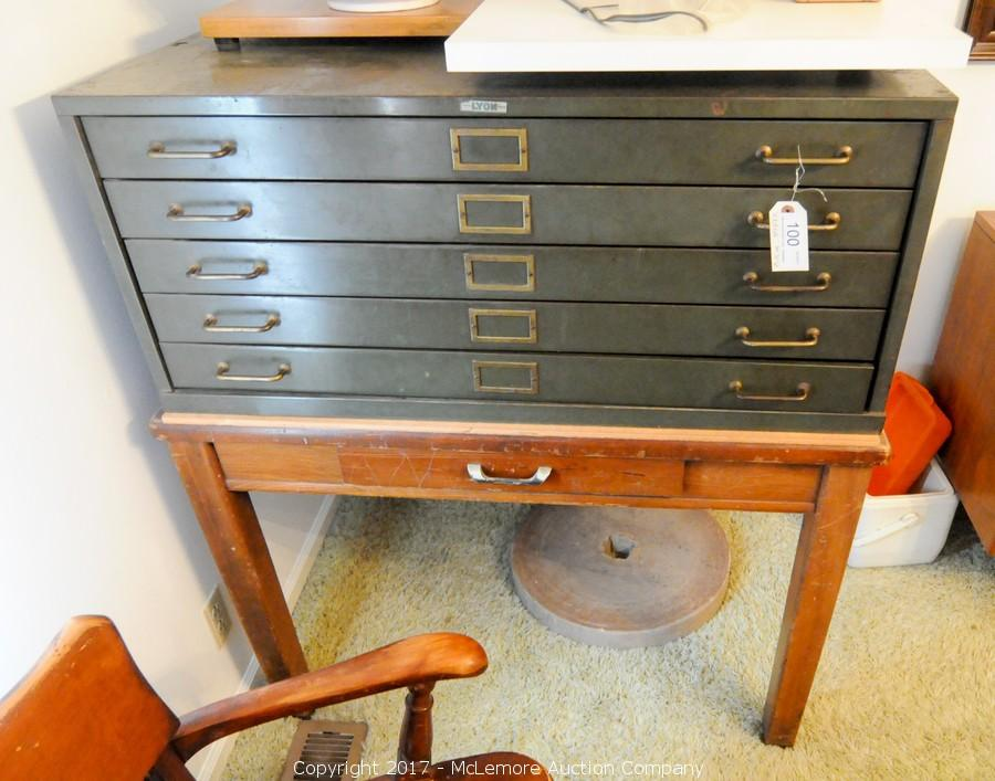 Mclemore auction company auction tools antiques coins knives metal blueprint cabinet with wooden desk with drawer malvernweather Choice Image